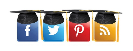 Image of popular social media logos wearing graduation hats